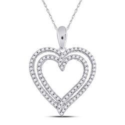 0.50 CTW Diamond Double Frame Heart Pendant 10kt White Gold