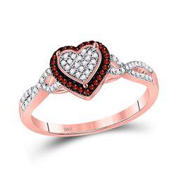 0.20 CTW Red Color Enhanced Diamond Heart Frame Cluster Twist Ring 10kt Rose Gold