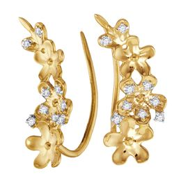 0.10 CTW Diamond Floral Climber Earrings 10kt Yellow Gold