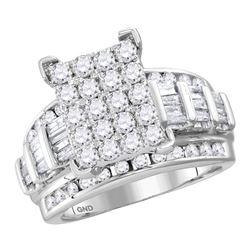 4.05 CTW Diamond Cindys Dream Cluster Bridal Wedding Engagement Ring 14kt White Gold