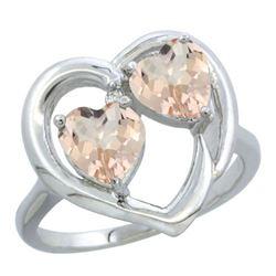 1.20 CTW Morganite Ring 14K White Gold