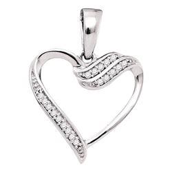 0.06 CTW Diamond Heart Pendant 10kt White Gold