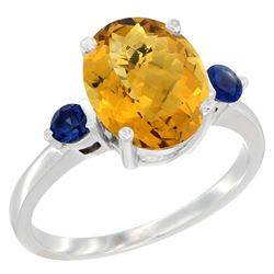 2.64 CTW Quartz & Blue Sapphire Ring 10K White Gold