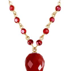 Genuine 14 ctw Ruby Necklace 14KT Yellow Gold