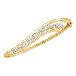 1 CTW Diamond Graduated Journey Bangle Bracelet 14kt Yellow Gold