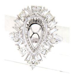 1.4 CTW Princess Diamond Semi Mount Ring 14K White Gold