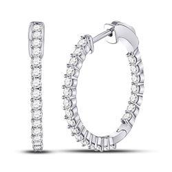 1.50 CTW Diamond Single Row Hoop Earrings 10kt White Gold