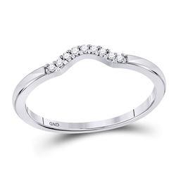 0.05 CTW Diamond Contoured Solitaire Enhancer Wedding Ring 10kt White Gold