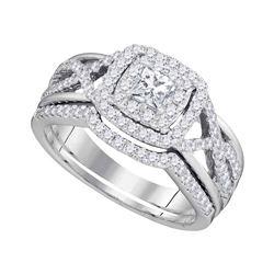 0.86 CTW Diamond Bridal Wedding Engagement Ring 14kt White Gold