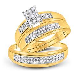 0.38 CTW Diamond Cluster Matching Bridal Wedding Ring 10kt Yellow Gold