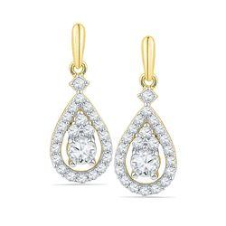 0.50 CTW Diamond Solitaire Teardrop Frame Dangle Earrings 10kt Yellow Gold