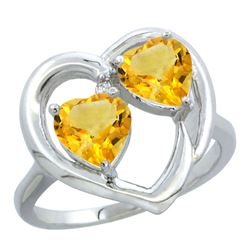 2.60 CTW Citrine Ring 10K White Gold