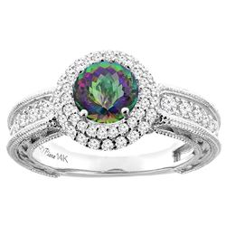 1.50 CTW Mystic Topaz & Diamond Ring 14K White Gold