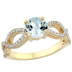 1 CTW Aquamarine & Diamond Ring 14K Yellow Gold