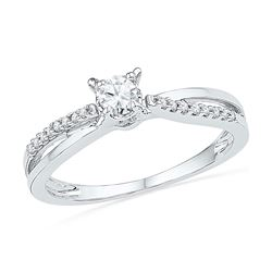 0.25 CTW Diamond Solitaire Crossover Promise Bridal Ring 10kt White Gold