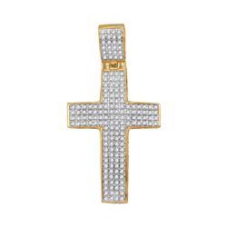 0.50 CTW Diamond Roman Cross Charm Pendant 10kt Yellow Gold