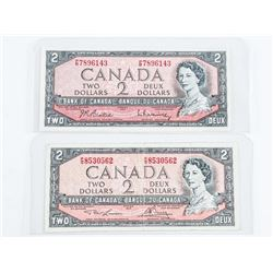 Lot (2) Bank of Canada 1954 2.00 Modified Portrait