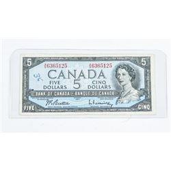 Bank of Canada 1954 5.00 Modified Portrait B/R