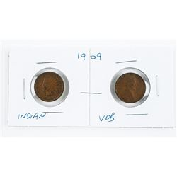Lot (2) USA Transition Coins (1909 Indian Head, La