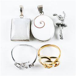 Estate Lot (5) Sterling Silver Jewellery - Rings,