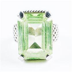 Estate 925 Silver Ring Rectangular Shape Peridot.