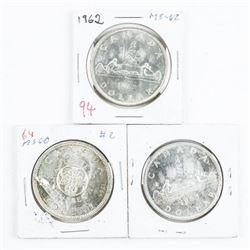 Lot (3) Canada Silver Dollars: 1962, 1964, 1965 MS