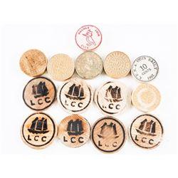 Estate Irish Tea Tin Filled with Wooden Coins
