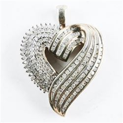 Estate 925 Silver Heart Shape, Diamond Pendant