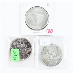 Group of (3) Canada Silver Dollars: 1964, 1965, 19
