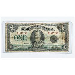 Dominion of Canada 1923 1.00 Black Seal. C/S