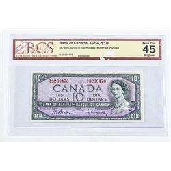 Bank of Canada 1954 10.00 Modified Portrait. EF45.