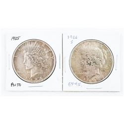 Lot (2) USA Silver Liberty Dollars: 1925 and 1926(