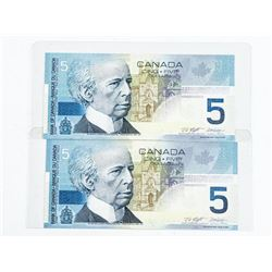 Lot (2) 2001 Bank of Canada 5.00 1st Issue, BC-62a