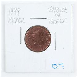 1999 Canada 1 Cent Error Struck in Grease