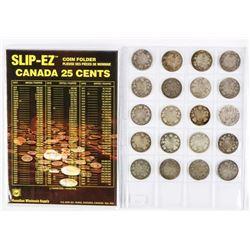 Group (20) Canada Silver 25 Cent. Victoria, Edward