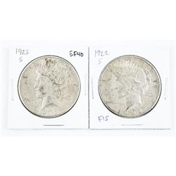 Lot (2) 1922 and 1923 (S) US Silver Peace Dollars
