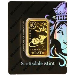 Year of the Rat .999 Fine Gold 1oz Bar - Collector