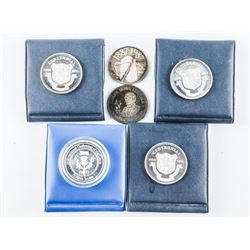 Group of (6) .9999 Fine Silver Trade Dollars, Low