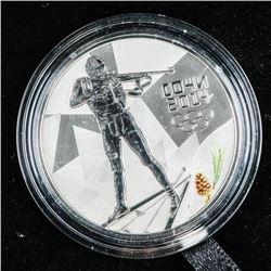925 Sterling Silver Sochi 3 Roubles Coin Alpine Sk