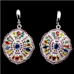 Natural Blue & Fancy Color Sapphire Ruby 84 CT Earrings
