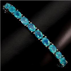Natural  Ethopian Blue Fire Opal 68.24 Ct Bracelet