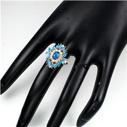 Natural Blue Opal & Brazil Blue Apatite Ring