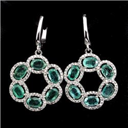 Natural Oval Green Emerald 49 Carats Earrings