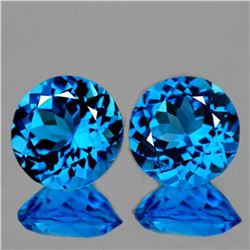 Natural AAA Swiss Blue Topaz Pair 8.00 MM - Flawless
