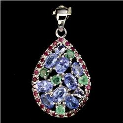 Natural Blue Tanzanite Emerald & Ruby Pendant