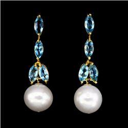 Natural Pearl & Topaz Earrings