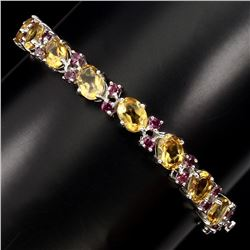 Natural Top Rich Yellow Citrine Rhodolite Garnet Bangle