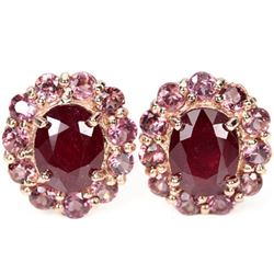 Natural RED RUBY & RHODOLITE GARNET Earrings