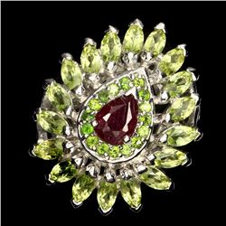 Natural Red Ruby Chrome Diopside Peridot Ring
