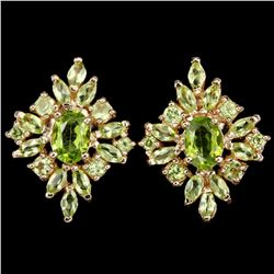 NATURAL AAA APPLE GREEN PERIDOT OVAL & MARQUISE Earring